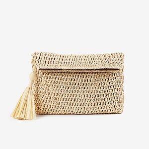 Ann Taylor foldover straw clutch